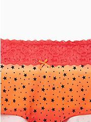 Orange Stars Wide Lace Cotton Boyshort Panty , , alternate