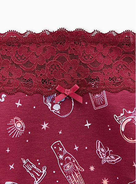 Berry Pink In The Cards Wide Lace Cotton Cheeky Panty, IN THE CARDS, alternate