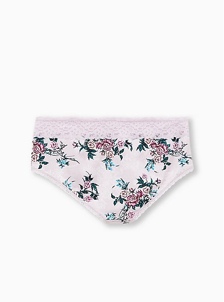 Lilac Purple Floral Wide Lace Cotton Cheeky Panty, BLOOM FLORAL, alternate