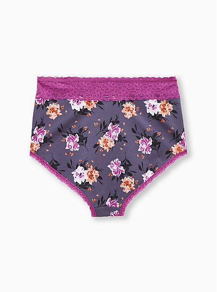 Heather Grey & Pink Floral Wide Lace Cotton High Waist Panty, BALLET FLORAL, alternate