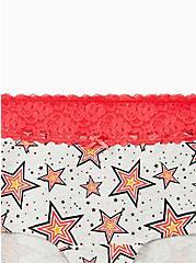 Light Grey Stars Wide Lace Cotton Boyshort Panty , , alternate