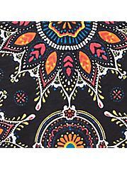 Black Medallion Wide Lace Cotton Thong Panty, , hi-res