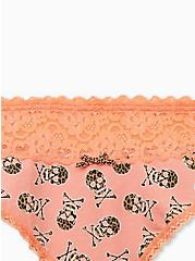 Peach Leopard Skull Wide Lace Cotton Thong Panty, , alternate