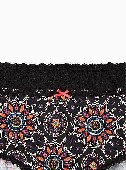 Black Medallion Wide Lace Cotton Brief Panty , , alternate