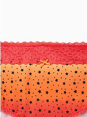 Orange Stars Wide Lace Cotton Brief Panty, , alternate