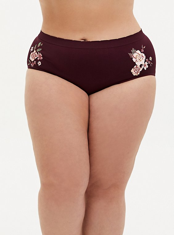Radiate Positivity Burgundy Purple Floral Seamless Brief Panty, , hi-res