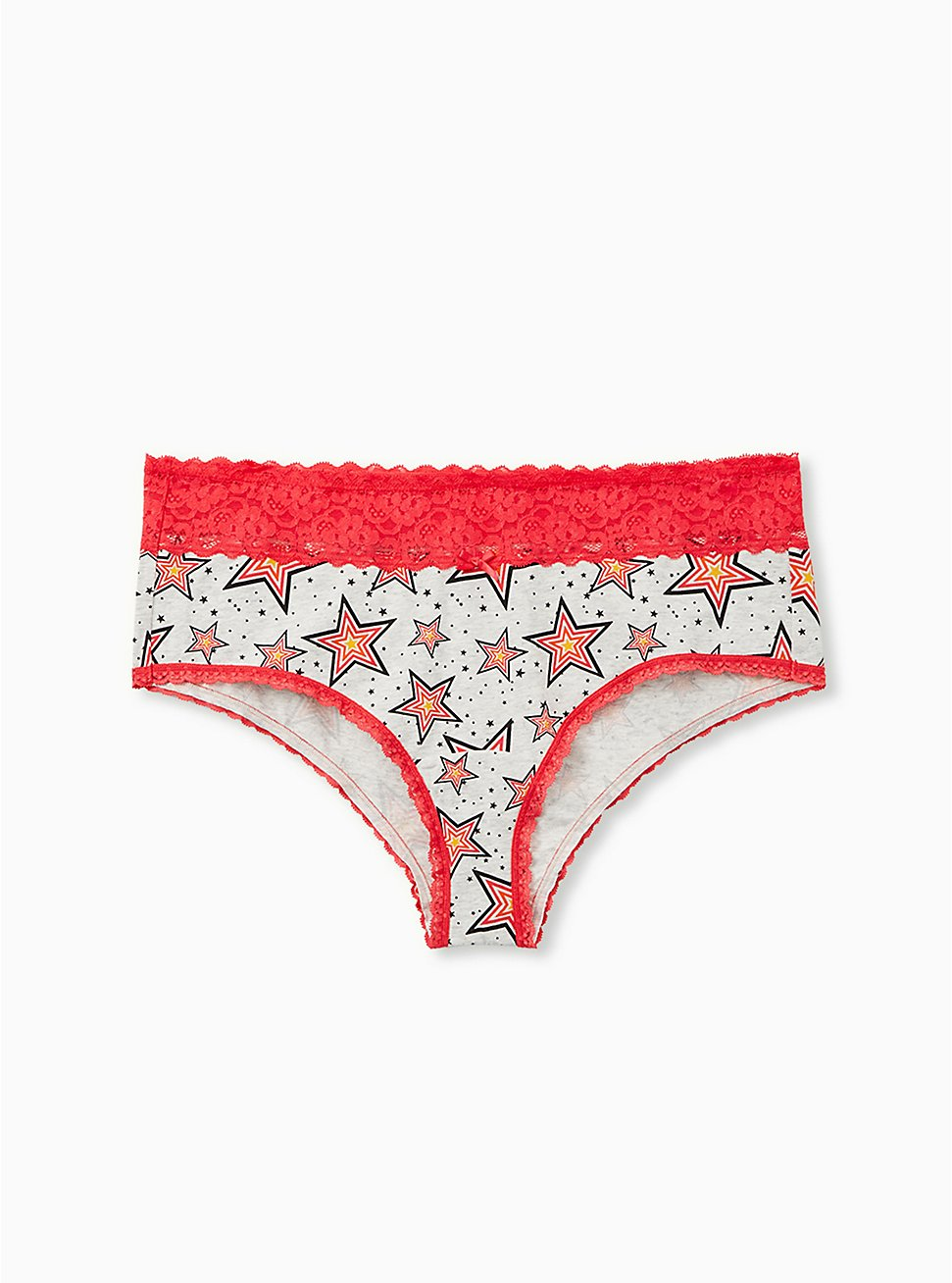 Light Grey Stars Wide Lace Cotton Cheeky Panty, , hi-res