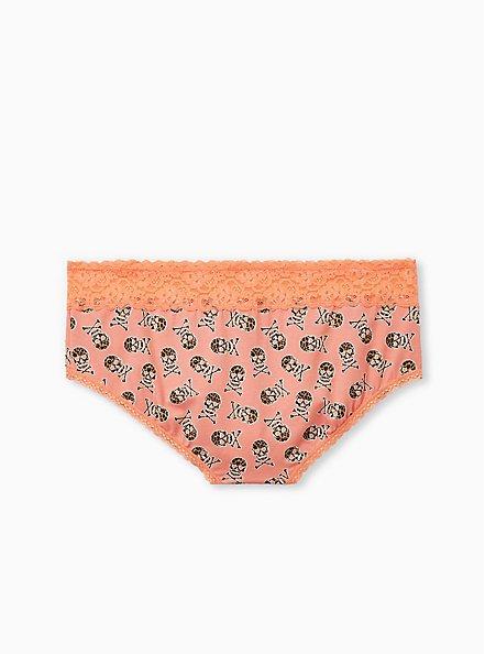 Peach Leopard Skull Wide Lace Cotton Cheeky Panty, , alternate