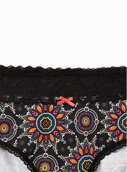 Black Medallion Wide Lace Cotton Cheeky Panty, , alternate