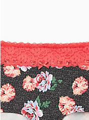 Black Floral Wide Lace Cotton Boyshort Panty, , alternate