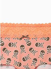 Peach Leopard Skull Wide Lace Cotton Boyshort Panty, , alternate