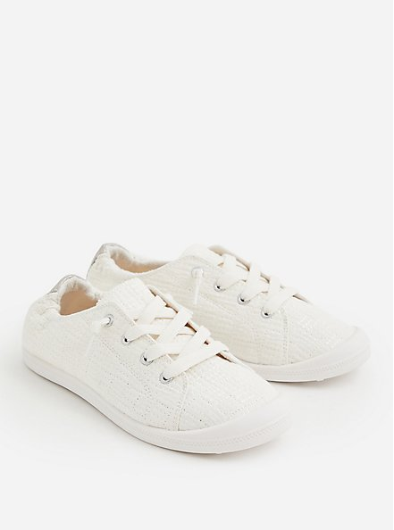 Riley - White Quilted Ruched Sneaker, WHITE, alternate