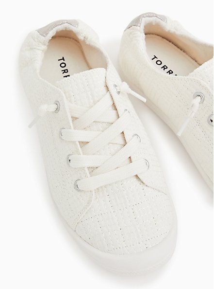 Riley - White Quilted Ruched Sneaker, WHITE, hi-res