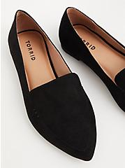 Black Faux Suede Pointed Toe Loafer (WW), BLACK, hi-res