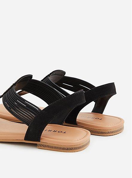 Black Elastic T-Strap Sandal, BLACK, alternate