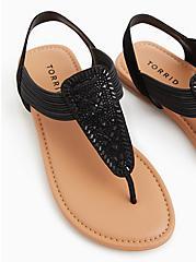 Black Elastic T-Strap Sandal, BLACK, hi-res
