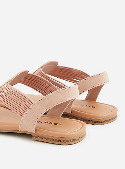 Blush Pink Elastic Band T-Strap Sandal (WW), BLUSH, alternate