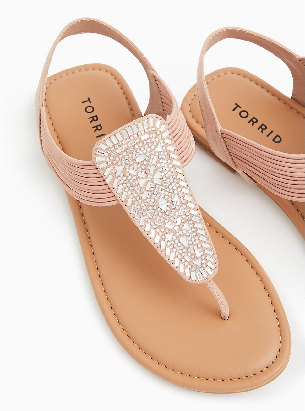Plus Size Blush Pink Elastic Band T-Strap Sandal (WW), BLUSH, hi-res