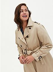 Beige Double-Breasted Belted Trench Coat , KHAKI, alternate