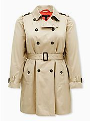 Beige Double-Breasted Belted Trench Coat , KHAKI, hi-res