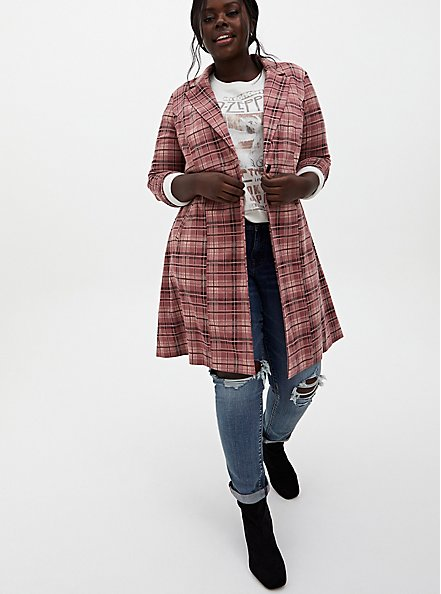 Pink Plaid Double Knit Longline Blazer , PLAID - PINK, alternate