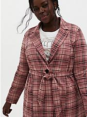 Pink Plaid Double Knit Longline Blazer , PLAID - PINK, alternate
