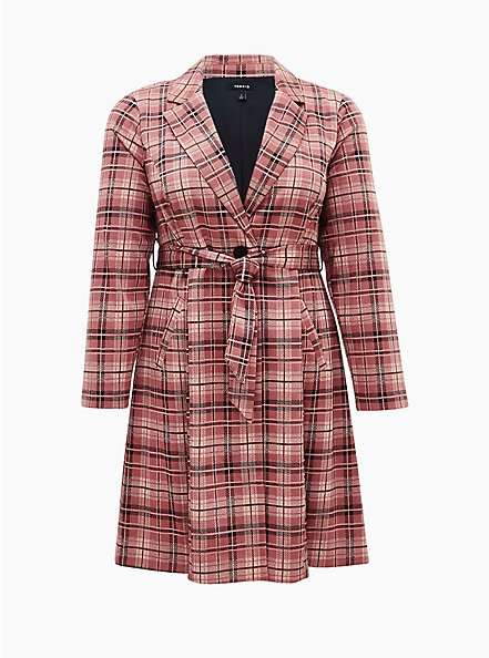 Pink Plaid Double Knit Longline Blazer , PLAID - PINK, hi-res