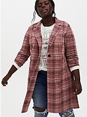 Pink Plaid Double Knit Longline Blazer , PLAID - PINK, hi-res