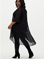 Black Heart Clip Dot Chiffon Hi-Lo Kimono, DEEP BLACK, alternate