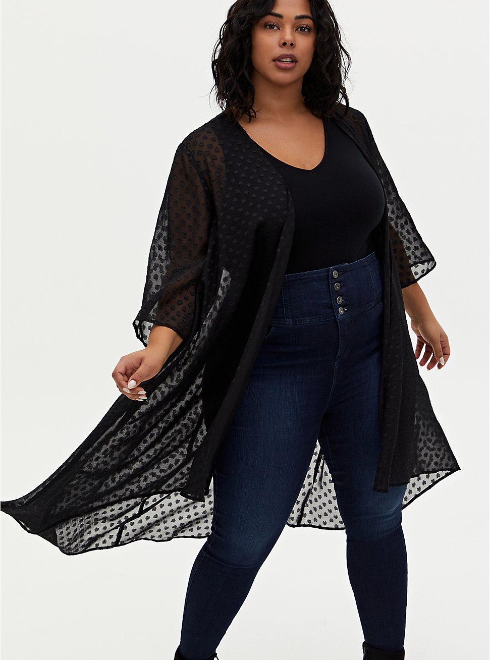 Black Heart Clip Dot Chiffon Hi-Lo Kimono, DEEP BLACK, hi-res