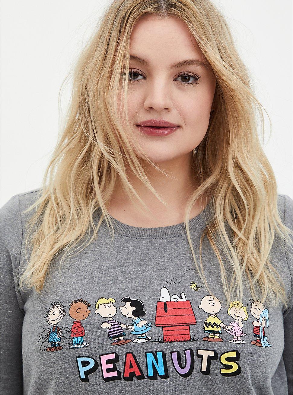 Peanuts Grey Crew Neck Sweatshirt, MEDIUM HEATHER GREY, hi-res