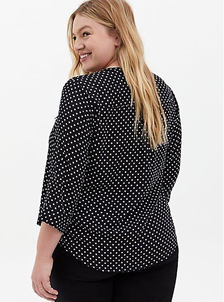 Harper - White & Black Dot Georgette Pullover Blouse, DOT - WHITE, alternate
