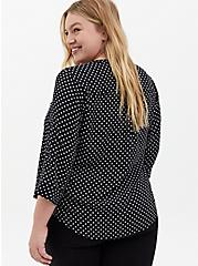 Harper - White & Black Dot Georgette Pullover Blouse, DOT - WHITE, alternate