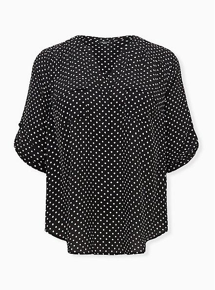 Harper - White & Black Dot Georgette Pullover Blouse, DOT - WHITE, hi-res