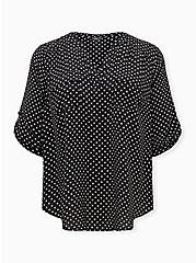 Harper - White & Black Dot Georgette Pullover Blouse, DOT - WHITE, hi-res