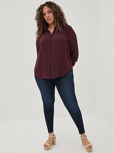 Madison - Burgundy Purple Georgette Button Front Blouse, WINETASTING, alternate