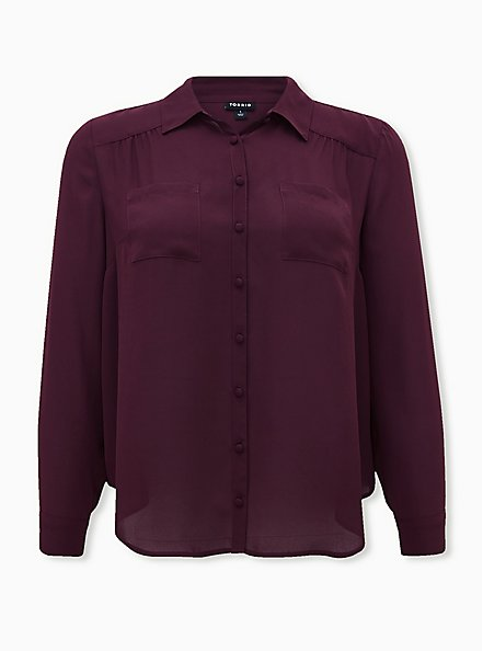 Madison - Burgundy Purple Georgette Button Front Blouse, WINETASTING, hi-res