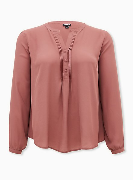 Walnut Georgette Pintuck Button Down Blouse, ROSE BROWN, hi-res