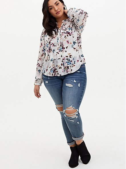 White Floral Georgette Pintuck Button Down Blouse, FLORAL - WHITE, alternate