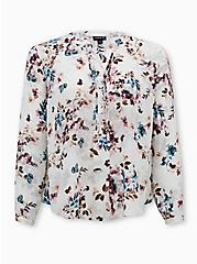 White Floral Georgette Pintuck Button Down Blouse, FLORAL - WHITE, hi-res