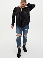 Black Stars Georgette Pintuck Button Down Blouse, STARS - BLACK, alternate
