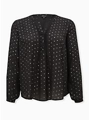 Black Stars Georgette Pintuck Button Down Blouse, STARS - BLACK, hi-res