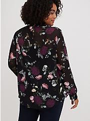 Black Floral Chiffon Smocked Mock Neck Blouse, FLORAL - BLACK, alternate