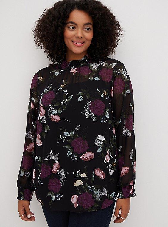 Black Floral Chiffon Smocked Mock Neck Blouse, FLORAL - BLACK, hi-res