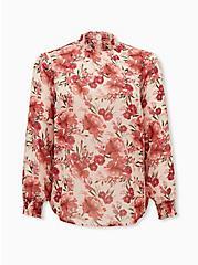 Light Pink Floral Sheer Chiffon Smocked Mock Neck Blouse, FLORAL - PINK, hi-res