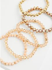 Gold-Tone Bead Stretch Bracelet Set - Set of 5, GOLD, alternate