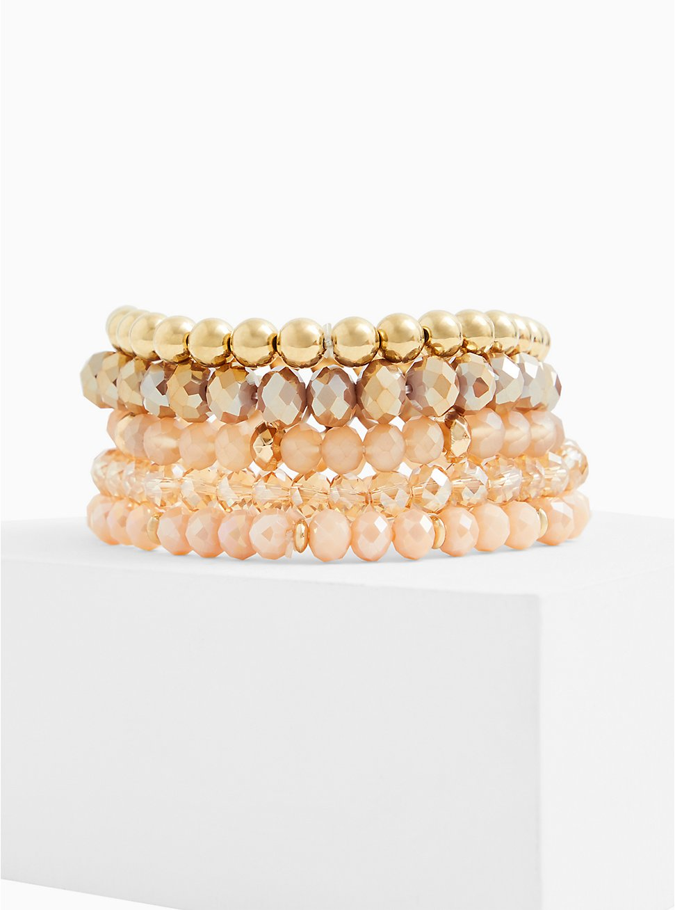 Gold-Tone Bead Stretch Bracelet Set - Set of 5, GOLD, hi-res