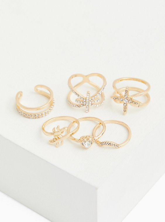 Gold-Tone Starburst Ring Set - Set of 6, MULTI, hi-res