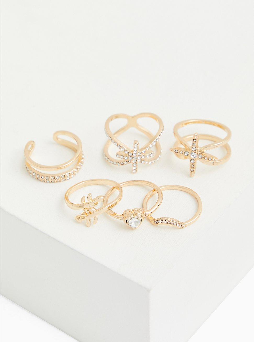 Plus Size Gold-Tone Starburst Ring Set - Set of 6, MULTI, hi-res