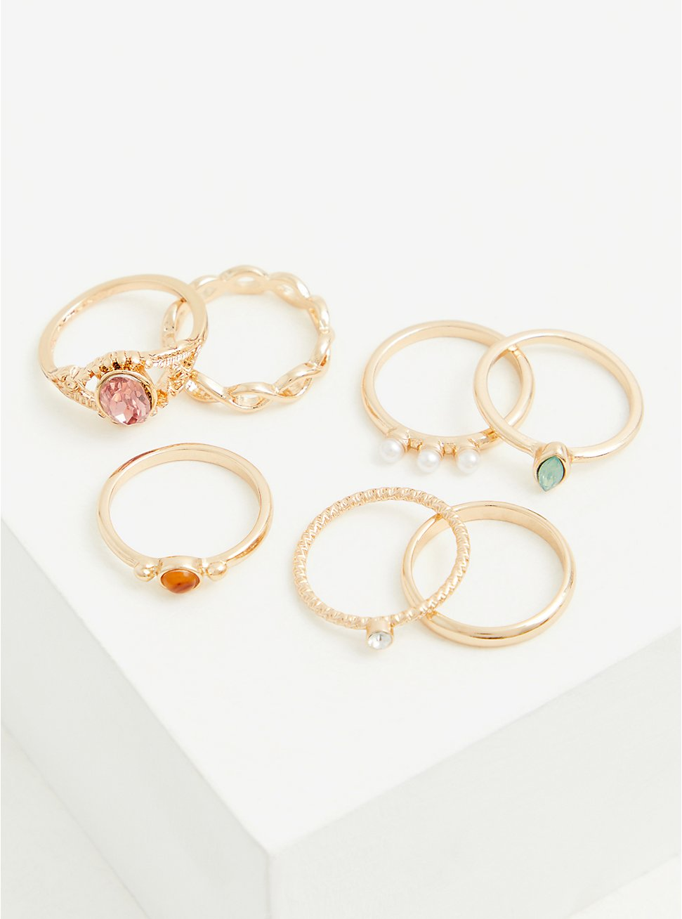 Blush and Faux Pearl Ring Set - Set of 7, MULTI, hi-res